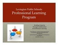Professional Learning Program - Lexington Public Schools