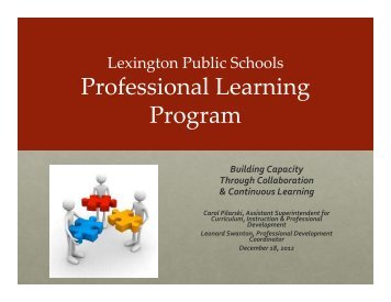 Professional Learning Program - Lexington Public Schools