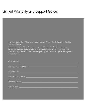 Limited Warranty and Support Guide - Hewlett Packard