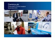 Centrica plc - Presentation to bond investors - November 2010 plc
