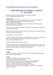 FORUMTRÄFFEN PÅ ÖNINGE CAMPING 17 – 20 maj 2007 - husvagnsforum