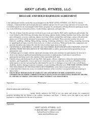 next level fitness, llc. release and hold harmless agreement