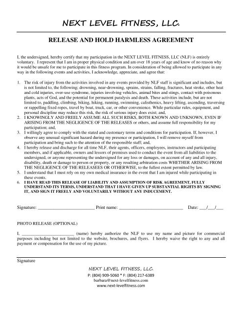 Next Level Fitness Llc Release And Hold Harmless Agreement
