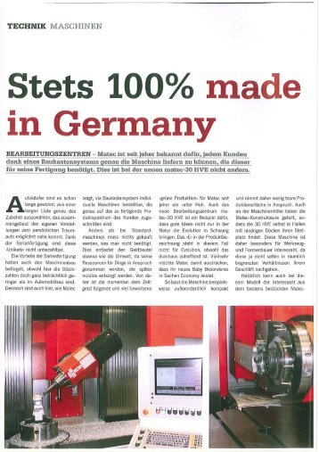 Stets 100% Made in Germany - matec