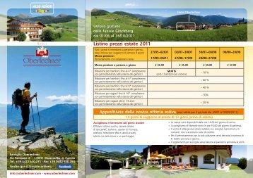 Listino prezzi estate 2011 - Hotel Oberlechner
