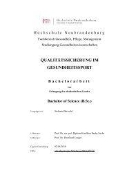 QUALITÄTSSICHERUNG IM ... - Hochschule Neubrandenburg