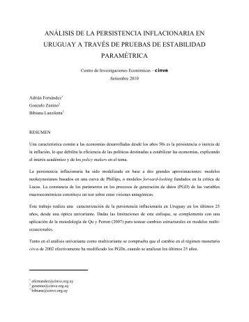 análisis de la persistencia inflacionaria en uruguay a través de ...
