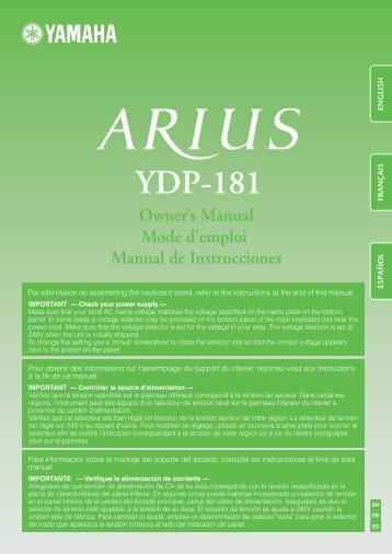 ARIUS YDP-181 Owner's Manual - zzounds.com