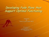 Developing Fade Plans that Support Optimal Functioning