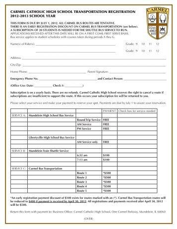 carmel catholic high school transportation registration 2012-2013 ...