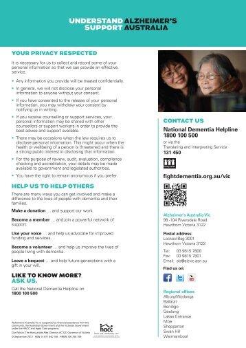 Our Services flyer(PDF, 204 kB) - Alzheimer's Australia