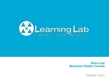 Start-up! Business Model Canvas October 2012 - Learning Lab