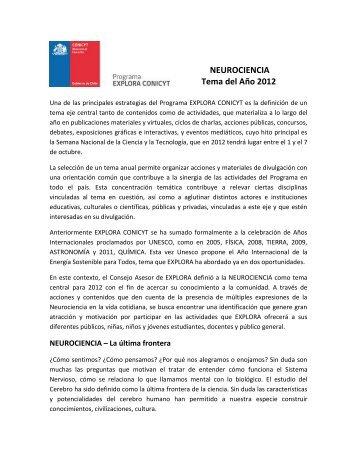 NEUROCIENCIA Tema del Año 2012 - Explora.ucv.cl