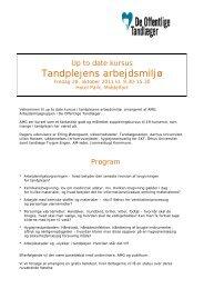 Program Tandplejens arbejdsmiljø - De Offentlige Tandlæger