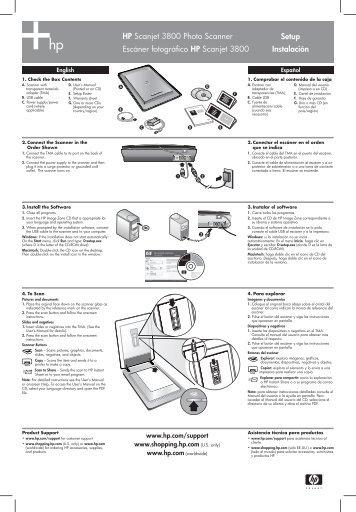 Setup Instalación HP Scanjet 3800 Photo ... - Hewlett Packard