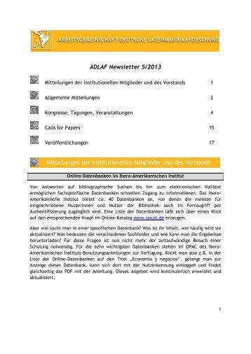 ADLAF Newsletter 5/2013 Mitteilungen der institutionellen Mitglieder ...