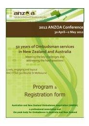 Program & Registration form - Australian and New Zealand ...