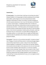 Relatório Liberdade de Imprensa no Brasil 2012 - Abert