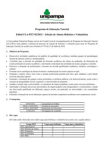 Edital de Processo - Seletivo PET 2012 - Unipampa