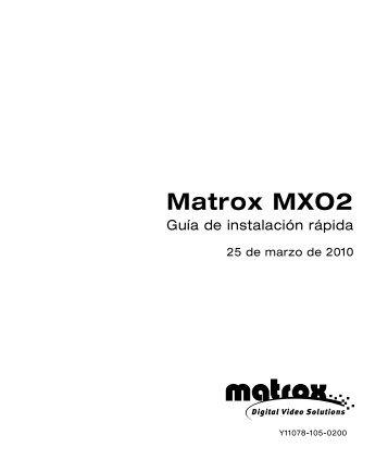 Matrox MXO2 - Guia de instalacion rapida