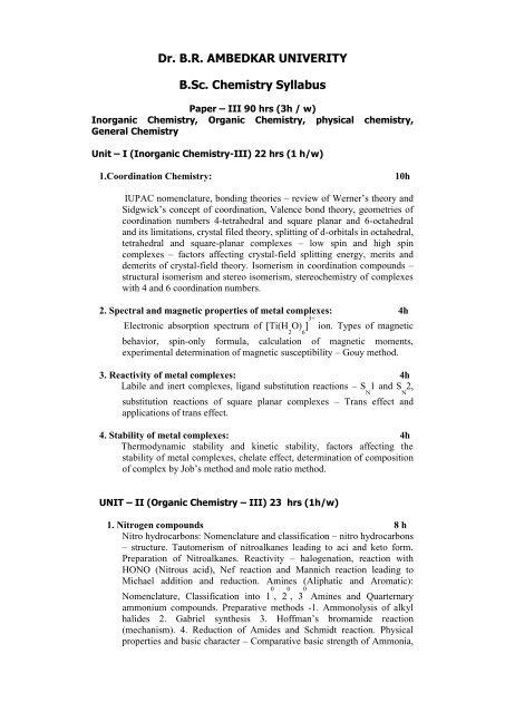 Chemistry - Dr BR Ambedkar University