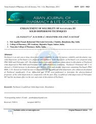 Asian Journal of Pharmacy and Life Science