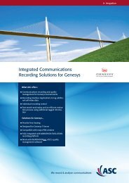 Integrated Communications Recording Solutions for ... - ASC telecom