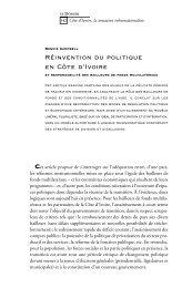 Réinvention du politique en Côte d'Ivoire : Et ... - Politique Africaine