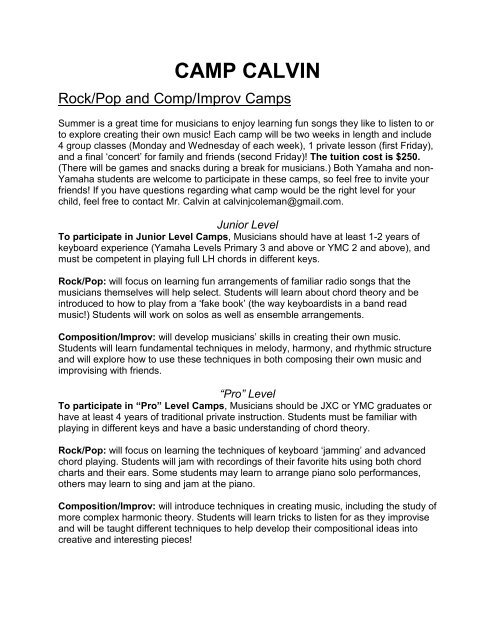 CAMP CALVIN - Wheaton Yamaha Music School