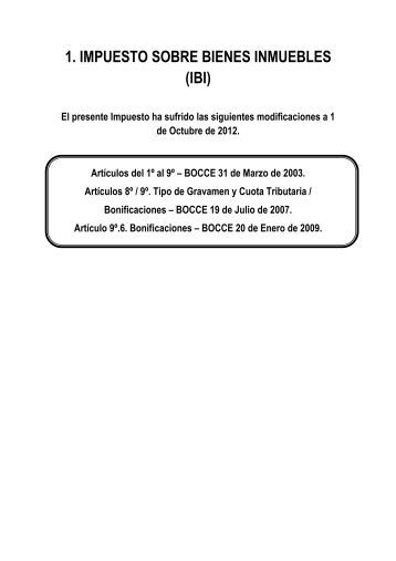 1. IMPUESTO SOBRE BIENES INMUEBLES (IBI) - ISOTools