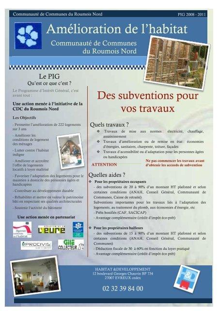 Informations relatives au - Habitat & Développement 27