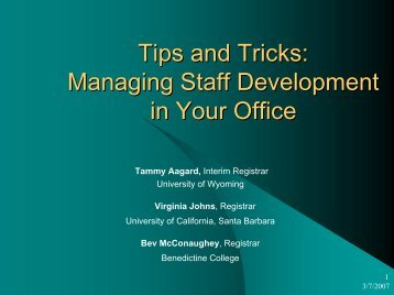 Tips and Tricks: Managing Staff Development in Your Office - AACRAO