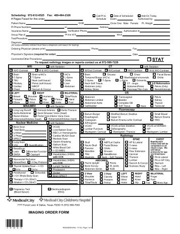 PetCt Scan Order Form  Medical City Dallas Hospital