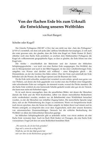 Von der flachen Erde bis zum Urknall - Kurt Bangert.de