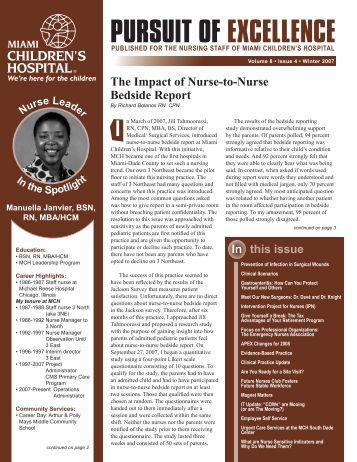 PURSUIT OF EXCELLENCE - Miami Children's Hospital