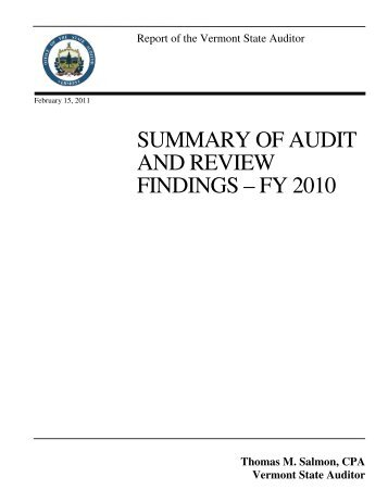 SUMMARY OF AUDIT AND REVIEW FINDINGS – FY 2010