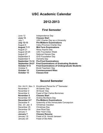 USC Academic Calendar 2012-2013 - University of San Carlos