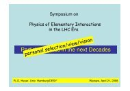 Particle Physics in the next Decades - LHC