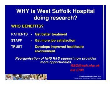 WHY is West Suffolk Hospital doing research?