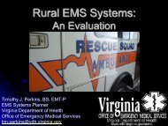 Rural EMS Systems: An Evaluation - Virginia's State Rural Health Plan