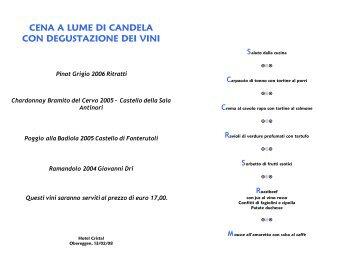 cena a lume di candela con degustazione dei vini - Hotel Cristal