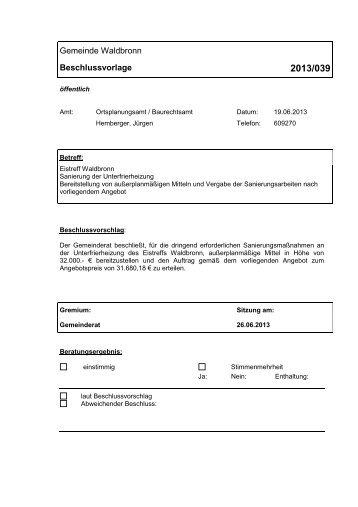 Vorlagen-Nummer: 2013/039 - Gemeinde Waldbronn
