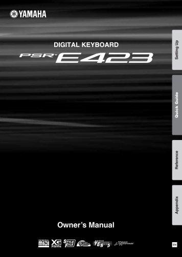 PSR-E423 Owner's Manual - Yamaha Downloads