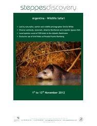 Argentina - Wildlife Safari 1 to 13 November 2012 - Steppes Discovery
