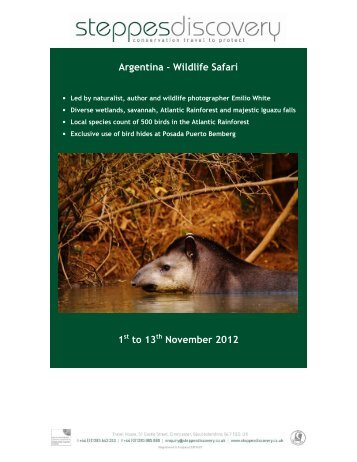 Argentina - Wildlife Safari 1 to 13 November 2012 - Steppes Discovery