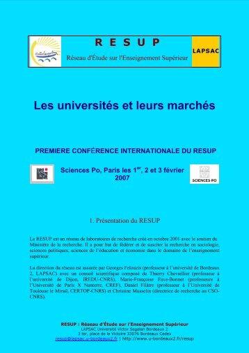 Les universités et leurs marchés - Association française de science ...