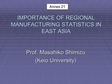 importance of regional standard for manufacturing statistics ... - ameicc