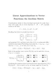 Linear Approximations to Vector Functions; the Jacobian Matrix