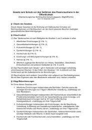 Gesetz zum Schutz vor den Gefahren des Passivrauchens in der ...