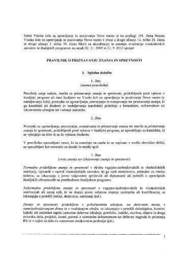 Pravilnik o priznavanju znanja in spretnosti - Visoka Å¡ola za ...